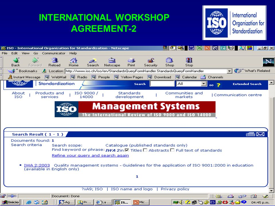 INTERNATIONAL WORKSHOP AGREEMENT-2