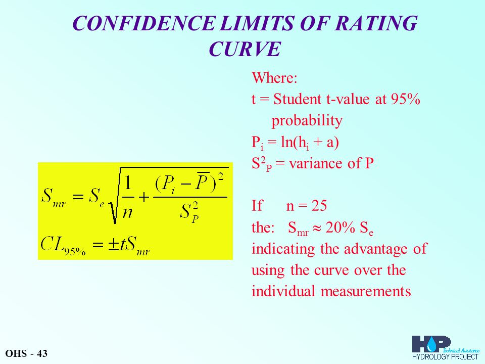CONFIDENCE LIMITS OF RATING CURVE Where: t = Student t-value at 95% probability P i = ln(h i + a) S 2 P = variance of P If n = 25 the: S mr  20% S e indicating the advantage of using the curve over the individual measurements OHS - 43