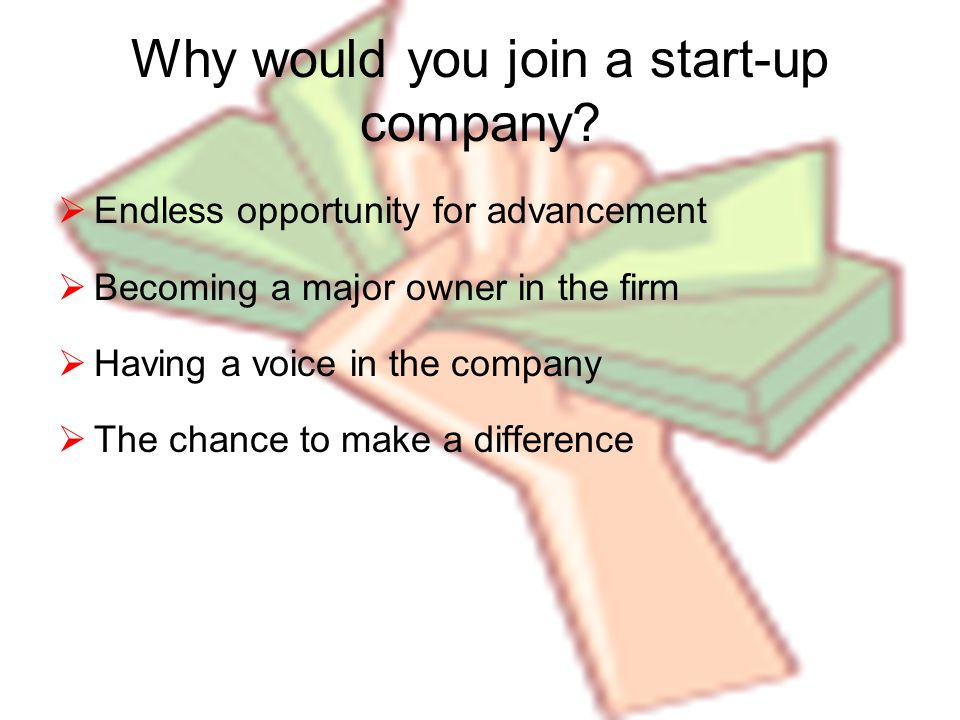 Why would you join a start-up company.