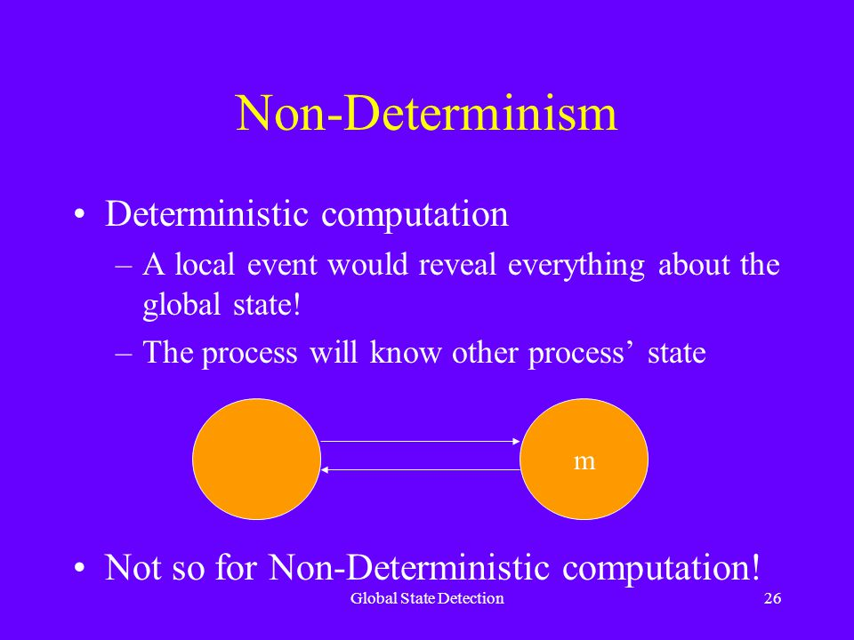 Global State Detection26 Non-Determinism Deterministic computation –A local event would reveal everything about the global state.