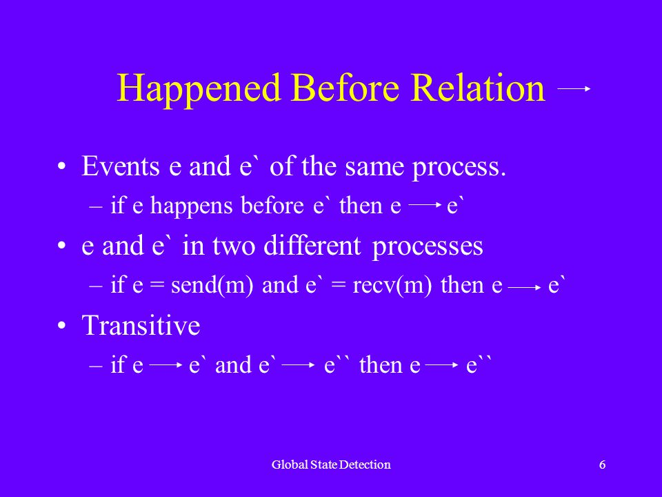 Global State Detection6 Happened Before Relation Events e and e` of the same process.