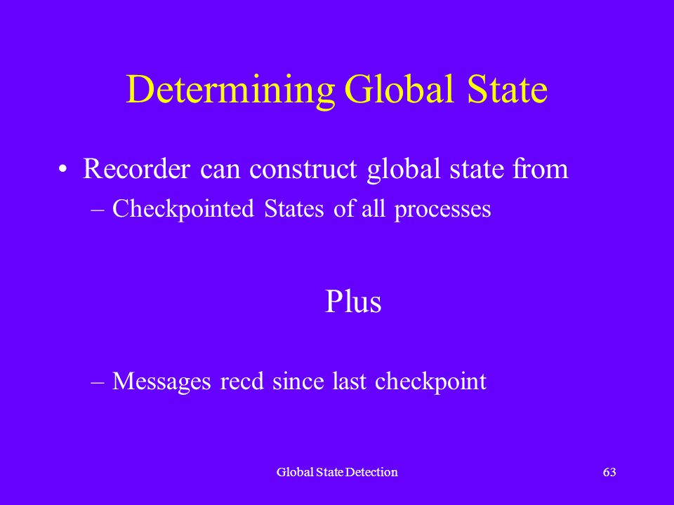 Global State Detection63 Determining Global State Recorder can construct global state from –Checkpointed States of all processes Plus –Messages recd since last checkpoint