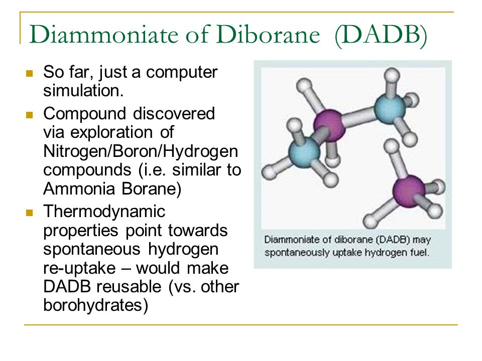 Diammoniate of Diborane (DADB) So far, just a computer simulation.