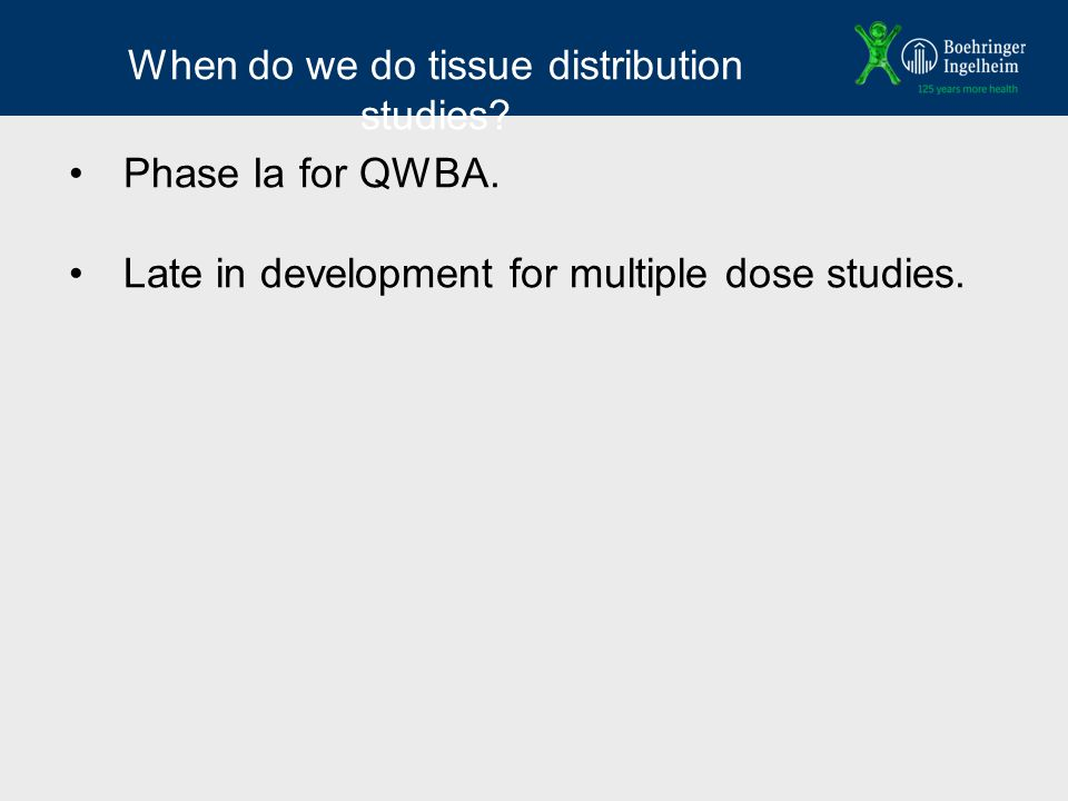 When do we do tissue distribution studies. Phase Ia for QWBA.
