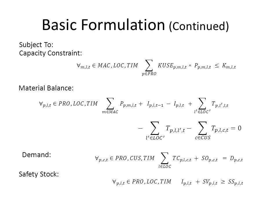 Basic Formulation (Continued) Subject To: Capacity Constraint: Safety Stock: Material Balance: Demand: