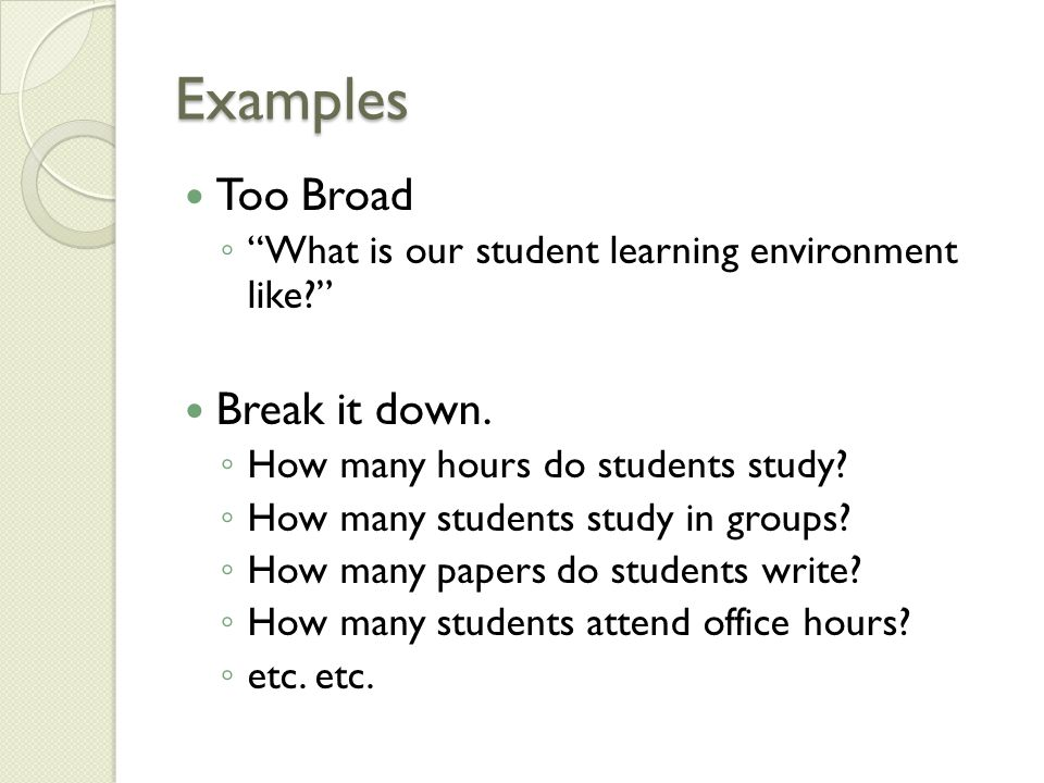 Examples Too Broad ◦ What is our student learning environment like Break it down.