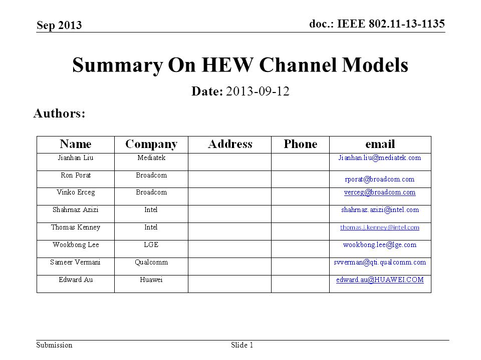 doc.: IEEE Submission Sep 2013 Slide 1 Summary On HEW Channel Models Date: Authors: