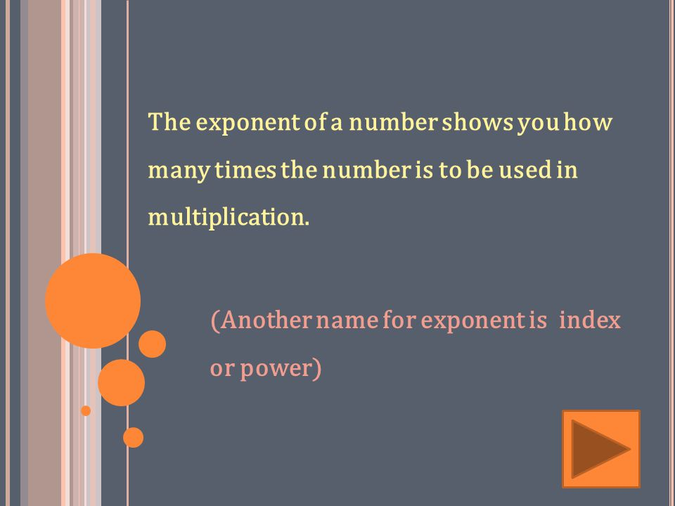 The exponent of a number shows you how many times the number is to be used in multiplication.