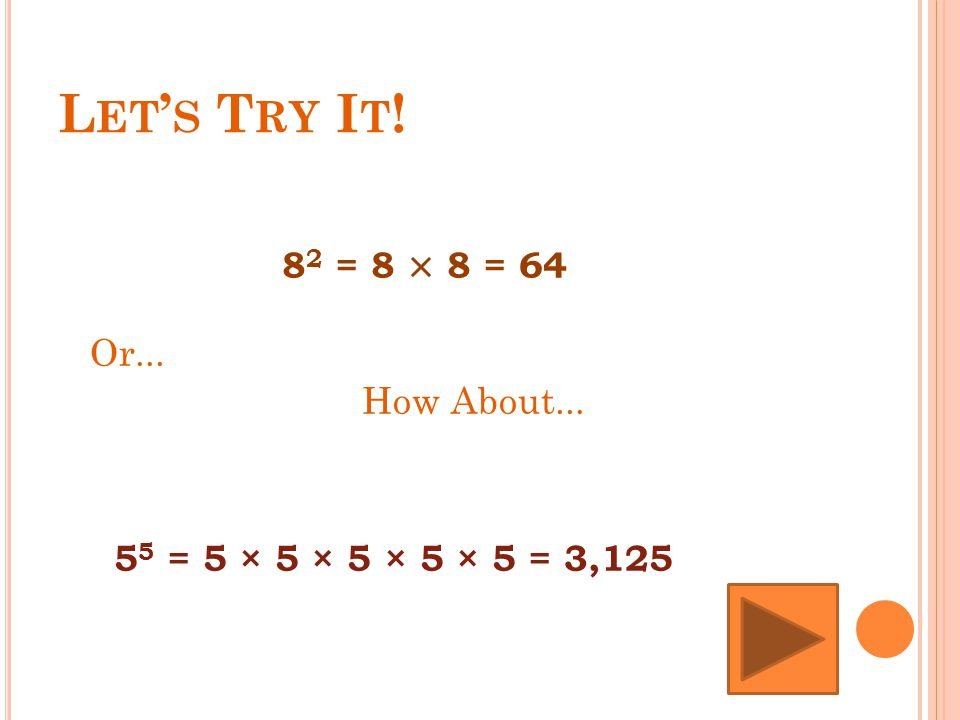 L ET ' S T RY I T ! How About... 8 2 = 8 × 8 = 64 Or... 5 5 = 5 × 5 × 5 × 5 × 5 = 3,125