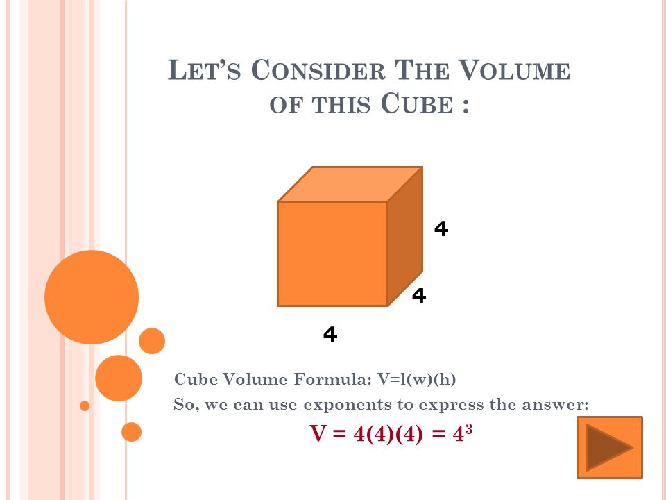 L ET ' S C ONSIDER T HE V OLUME OF THIS C UBE : Cube Volume Formula: V=l(w)(h) So, we can use exponents to express the answer: V = 4(4)(4) = 4 3 4 4 4