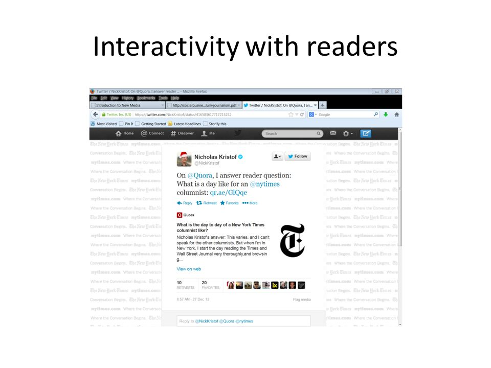 Interactivity with readers