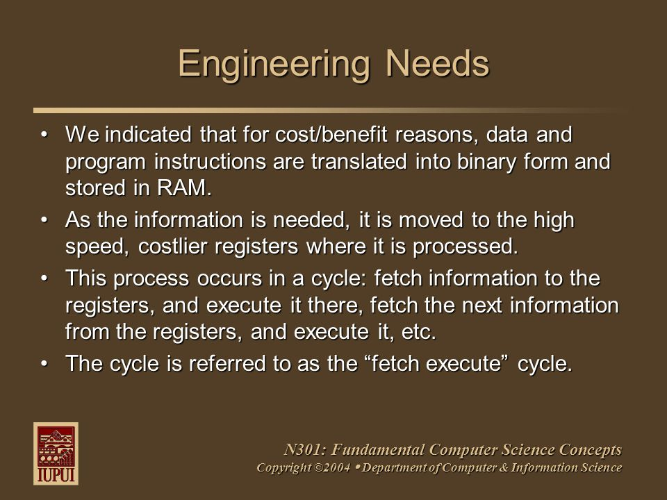 N301: Fundamental Computer Science Concepts Copyright ©2004  Department of Computer & Information Science Engineering Needs We indicated that for cost/benefit reasons, data and program instructions are translated into binary form and stored in RAM.We indicated that for cost/benefit reasons, data and program instructions are translated into binary form and stored in RAM.
