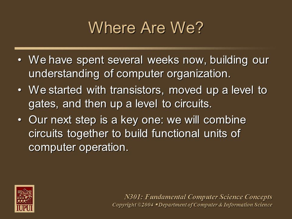 N301: Fundamental Computer Science Concepts Copyright ©2004  Department of Computer & Information Science Where Are We.