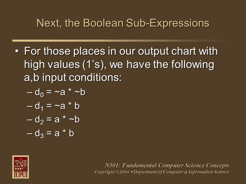 N301: Fundamental Computer Science Concepts Copyright ©2004  Department of Computer & Information Science Next, the Boolean Sub-Expressions For those places in our output chart with high values (1's), we have the following a,b input conditions:For those places in our output chart with high values (1's), we have the following a,b input conditions: –d 0 = ~a * ~b –d 1 = ~a * b –d 2 = a * ~b –d 3 = a * b