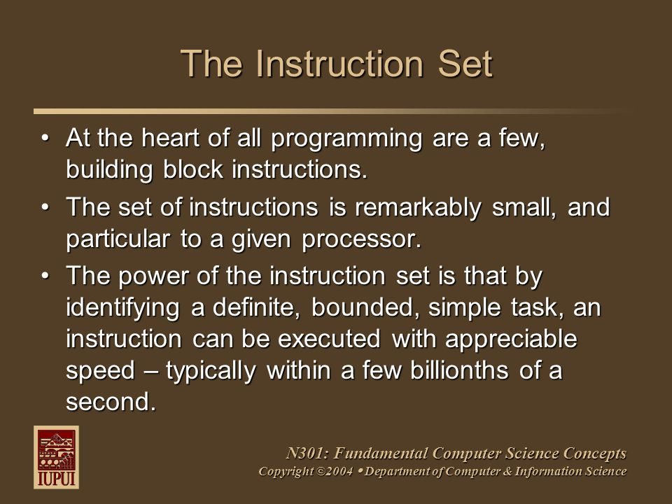 N301: Fundamental Computer Science Concepts Copyright ©2004  Department of Computer & Information Science The Instruction Set At the heart of all programming are a few, building block instructions.At the heart of all programming are a few, building block instructions.