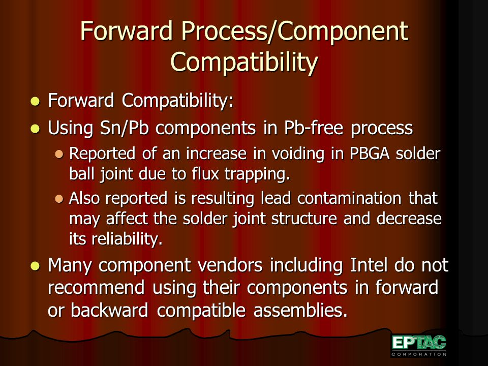 Forward Process/Component Compatibility Forward Compatibility: Forward Compatibility: Using Sn/Pb components in Pb-free process Using Sn/Pb components in Pb-free process Reported of an increase in voiding in PBGA solder ball joint due to flux trapping.