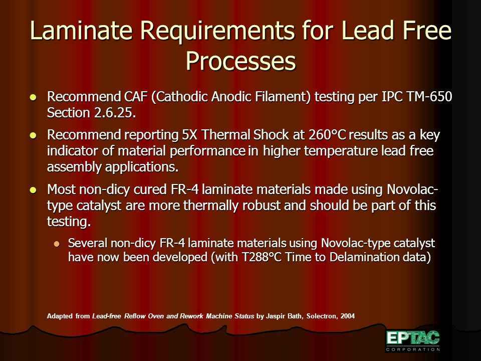 Laminate Requirements for Lead Free Processes Recommend CAF (Cathodic Anodic Filament) testing per IPC TM-650 Section 2.6.25.