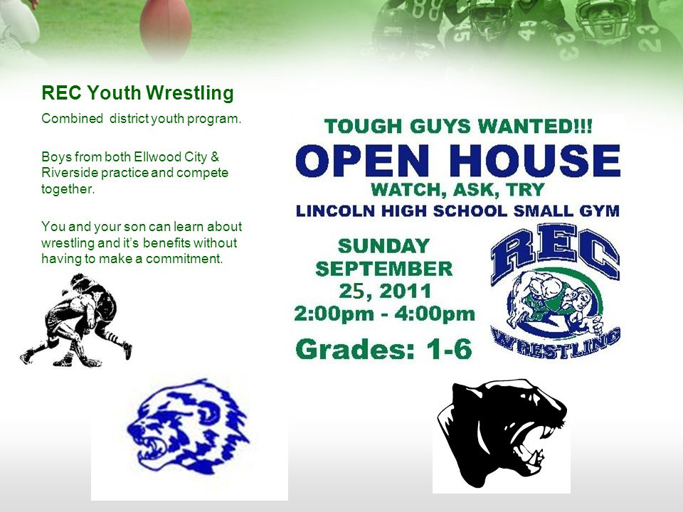 REC Youth Wrestling Combined district youth program.