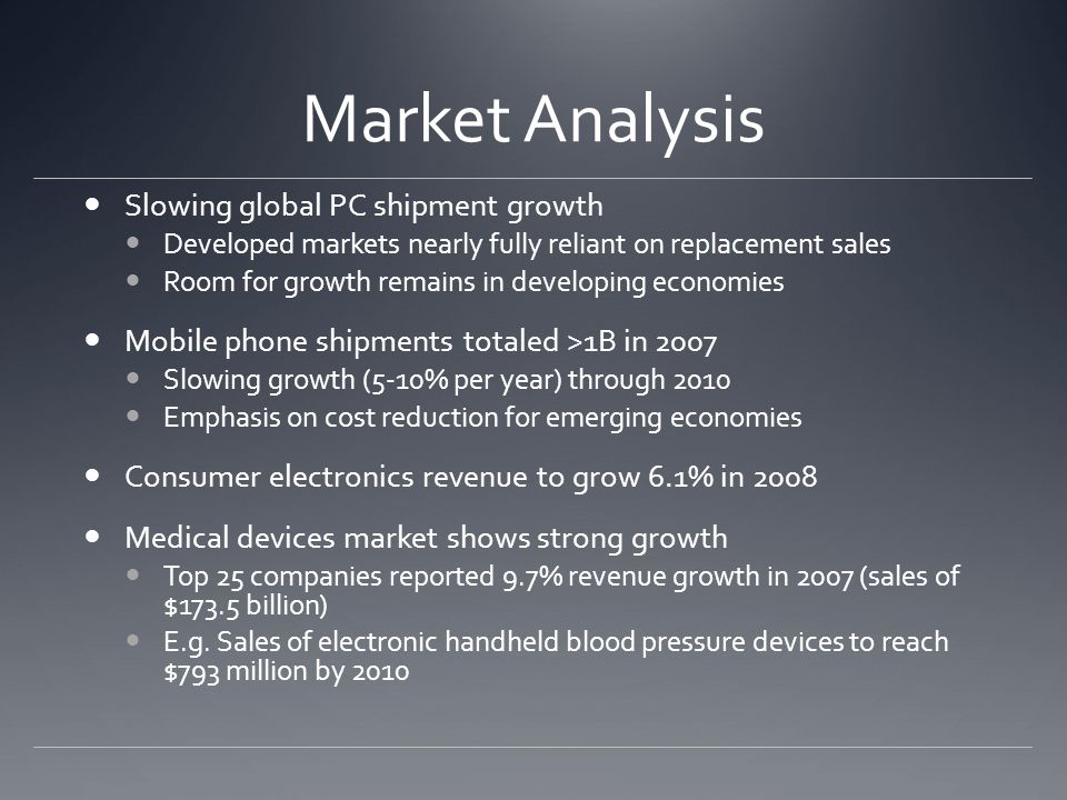 Market Analysis Slowing global PC shipment growth Developed markets nearly fully reliant on replacement sales Room for growth remains in developing economies Mobile phone shipments totaled >1B in 2007 Slowing growth (5-10% per year) through 2010 Emphasis on cost reduction for emerging economies Consumer electronics revenue to grow 6.1% in 2008 Medical devices market shows strong growth Top 25 companies reported 9.7% revenue growth in 2007 (sales of $173.5 billion) E.g.