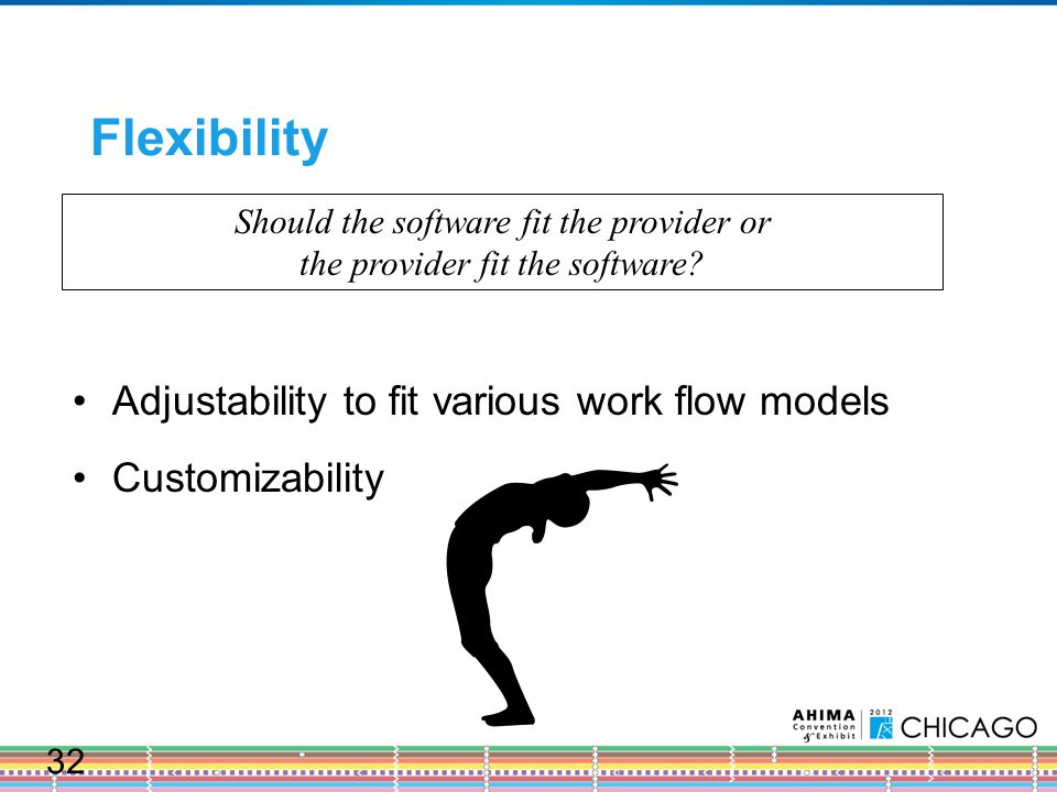 Flexibility Should the software fit the provider or the provider fit the software.