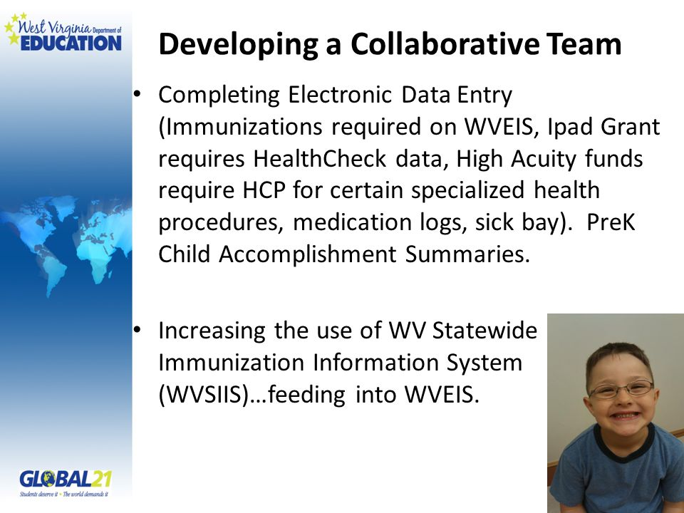 Developing a Collaborative Team Completing Electronic Data Entry (Immunizations required on WVEIS, Ipad Grant requires HealthCheck data, High Acuity funds require HCP for certain specialized health procedures, medication logs, sick bay).