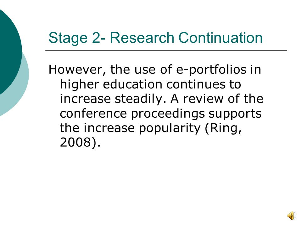 Stage 2- Researched Continuation E-portfolios use is growing significantly, but without a major organization guiding or monitoring its growth it lacks the components to become a field.