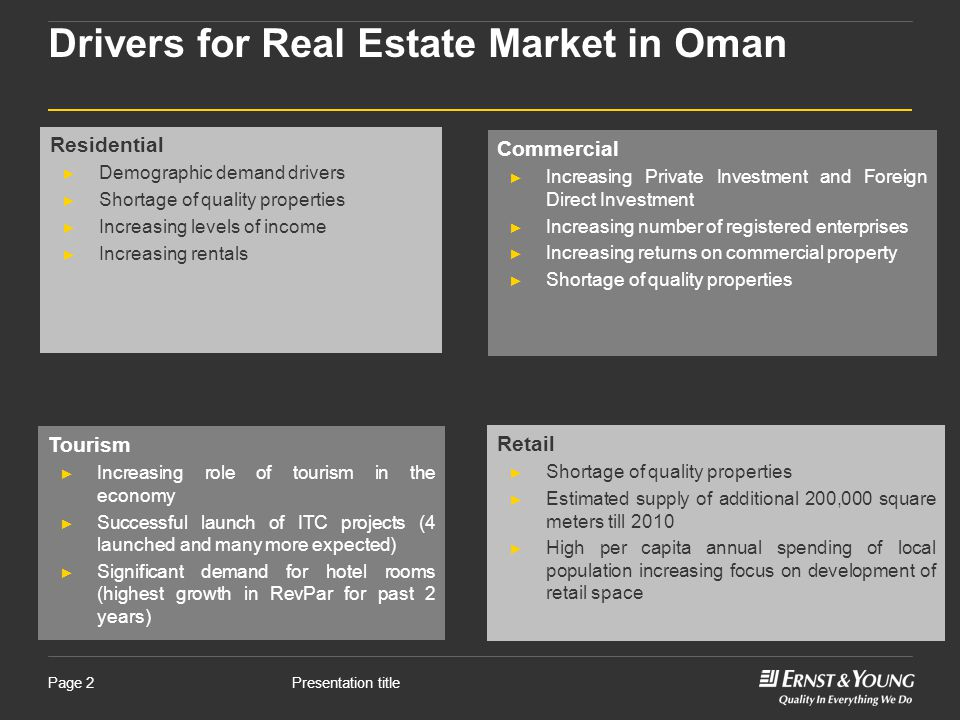 Presentation titlePage 2 Drivers for Real Estate Market in Oman Commercial ► Increasing Private Investment and Foreign Direct Investment ► Increasing number of registered enterprises ► Increasing returns on commercial property ► Shortage of quality properties Residential ► Demographic demand drivers ► Shortage of quality properties ► Increasing levels of income ► Increasing rentals Tourism ► Increasing role of tourism in the economy ► Successful launch of ITC projects (4 launched and many more expected) ► Significant demand for hotel rooms (highest growth in RevPar for past 2 years) Retail ► Shortage of quality properties ► Estimated supply of additional 200,000 square meters till 2010 ► High per capita annual spending of local population increasing focus on development of retail space