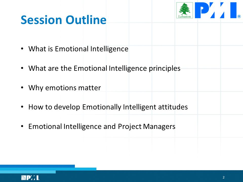 2 Session Outline What is Emotional Intelligence What are the Emotional Intelligence principles Why emotions matter How to develop Emotionally Intelligent attitudes Emotional Intelligence and Project Managers