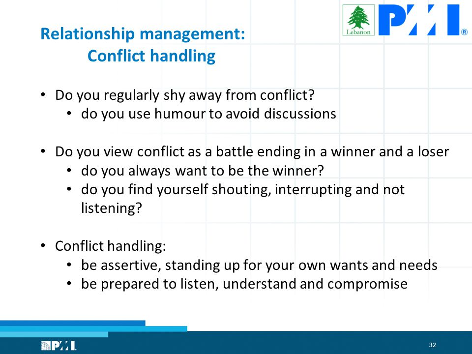 32 Relationship management: Conflict handling Do you regularly shy away from conflict.