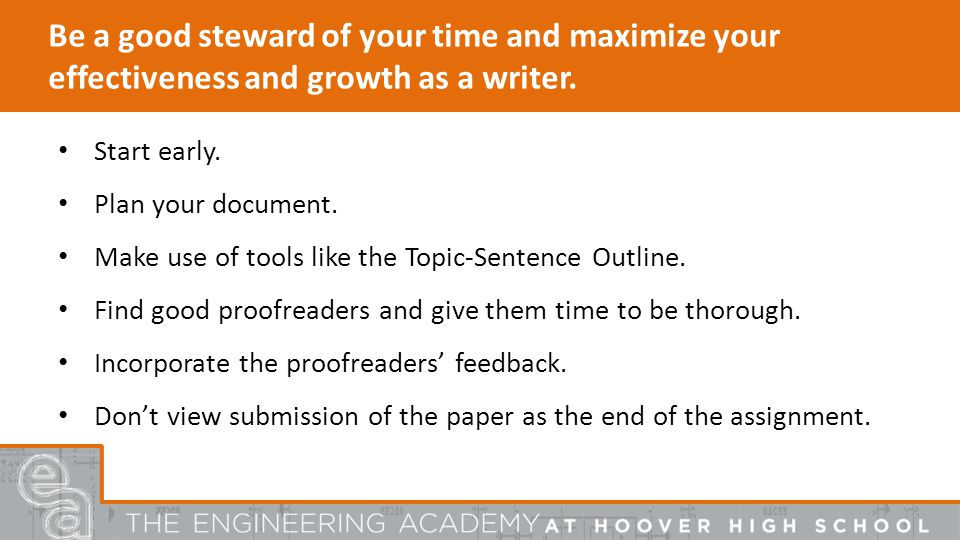 Be a good steward of your time and maximize your effectiveness and growth as a writer.