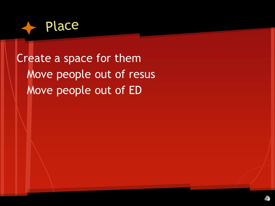 Place Create a space for them Move people out of resus Move people out of ED