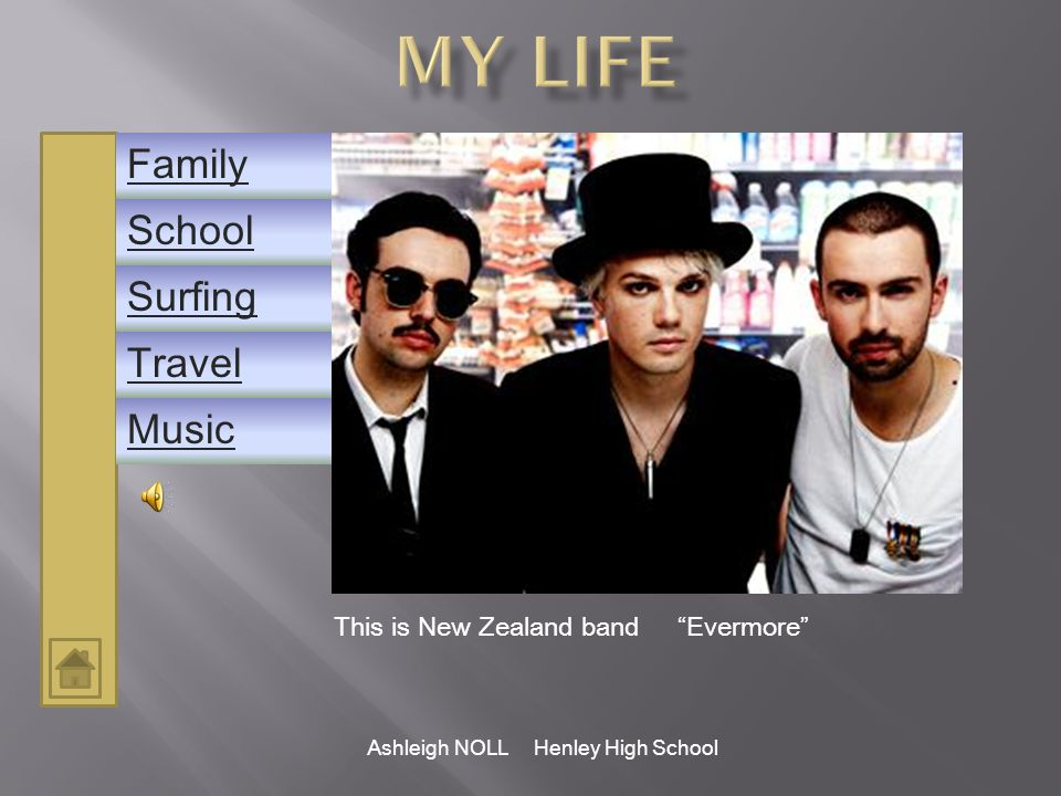 Ashleigh NOLL Henley High School School Family Music Surfing Travel Last year a mate travelled around the world on boats