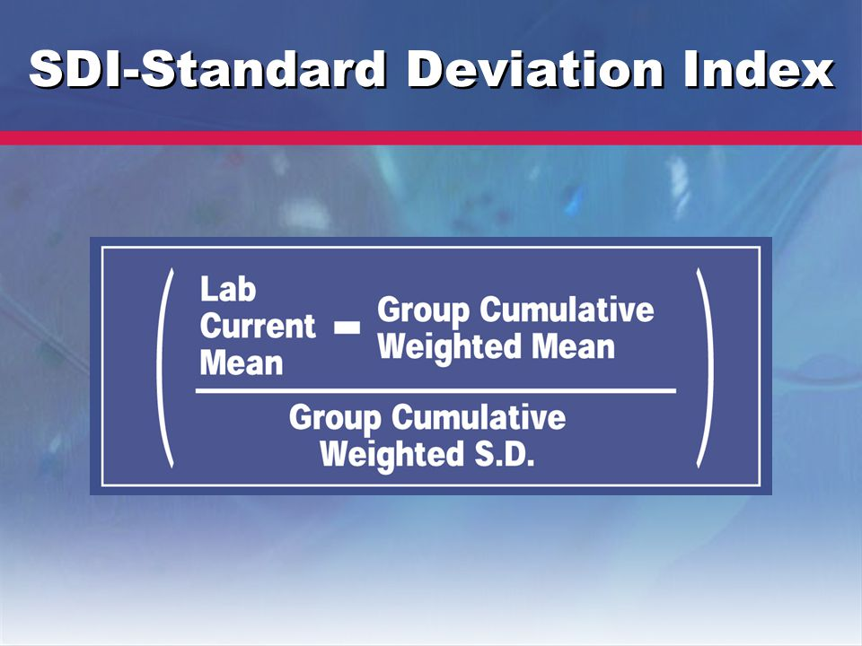 SDI-Standard Deviation Index