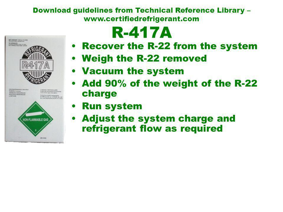 R-417A Recover the R-22 from the system Weigh the R-22 removed Vacuum the system Add 90% of the weight of the R-22 charge Run system Adjust the system charge and refrigerant flow as required Download guidelines from Technical Reference Library – www.certifiedrefrigerant.com