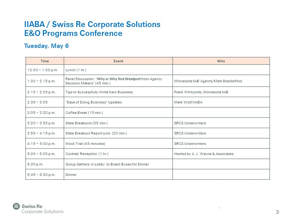 3 IIABA / Swiss Re Corporate Solutions E&O Programs Conference Tuesday, May 6 3 TimeEventWho 12:30 – 1:30 p.m.Lunch (1 hr.) 1:30 – 2:15 p.m.