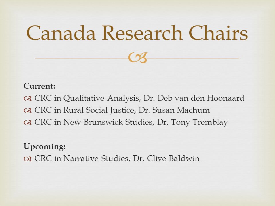  Canada Research Chairs Current:  CRC in Qualitative Analysis, Dr.