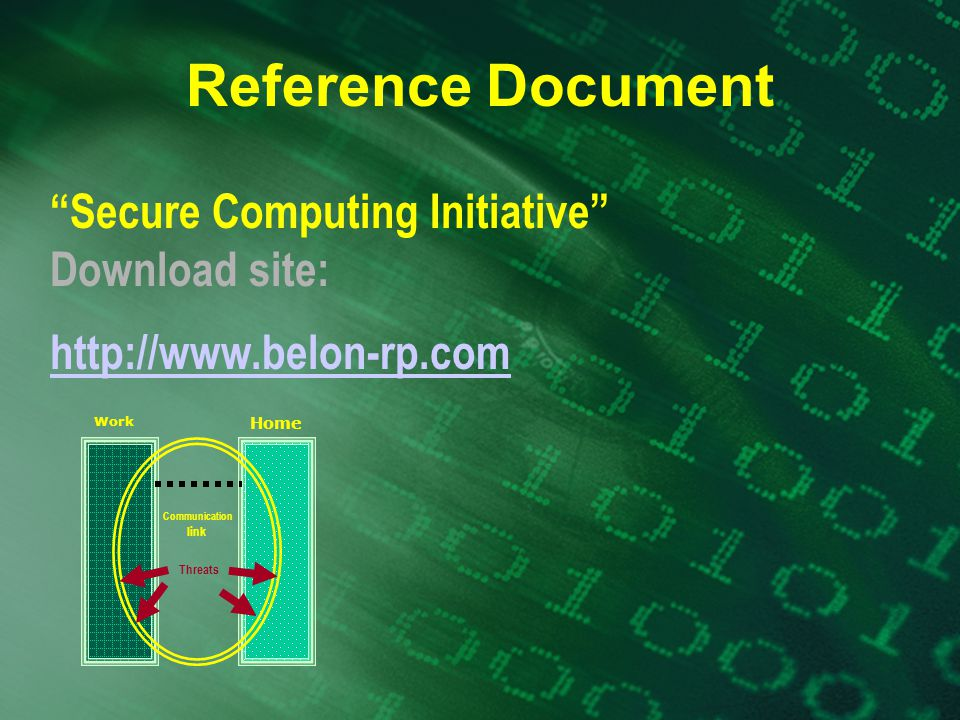 Reference Document Secure Computing Initiative Download site: http://www.belon-rp.com Work Home Threats Communication link
