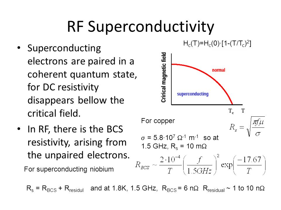 RF Superconductivity Superconducting electrons are paired in a coherent quantum state, for DC resistivity disappears bellow the critical field.