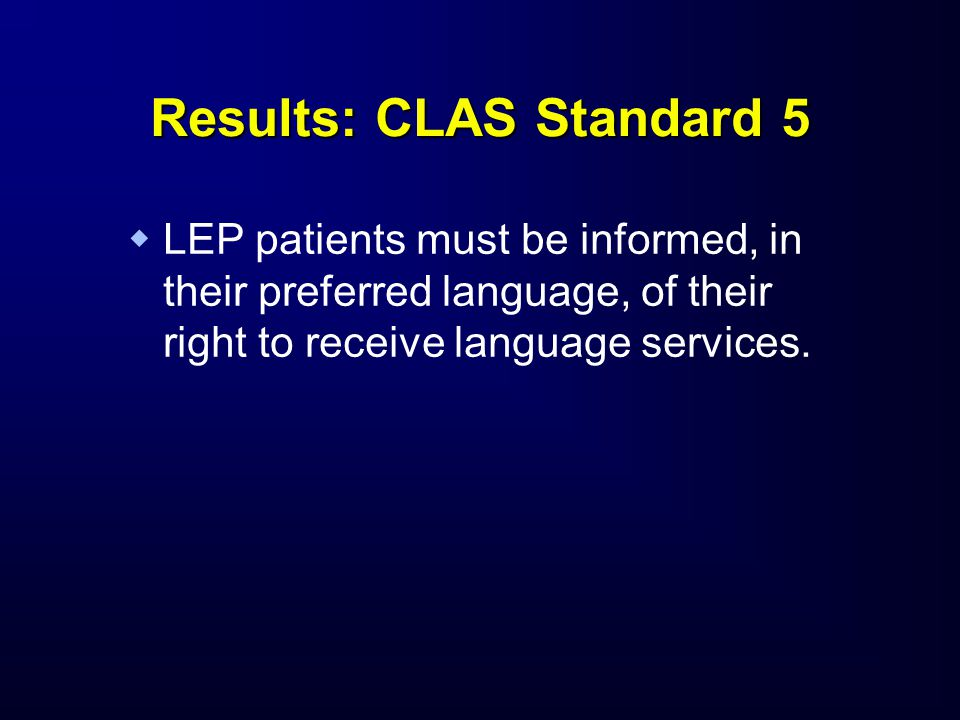 Results: CLAS Standard 5   LEP patients must be informed, in their preferred language, of their right to receive language services.