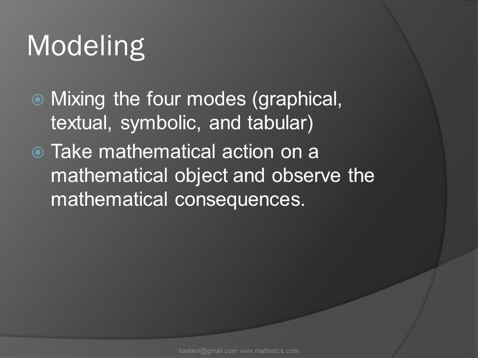 Modeling  Mixing the four modes (graphical, textual, symbolic, and tabular)  Take mathematical action on a mathematical object and observe the mathematical consequences.