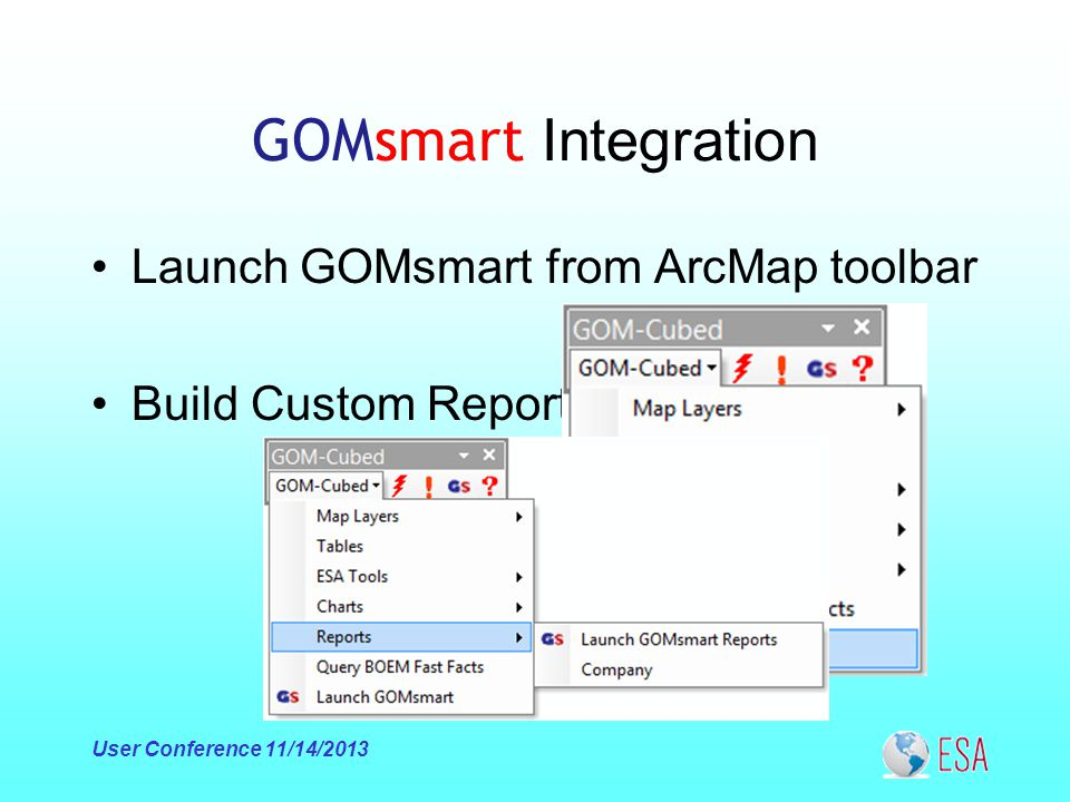 GOMsmart Integration Launch GOMsmart from ArcMap toolbar Build Custom Reports User Conference 11/14/2013