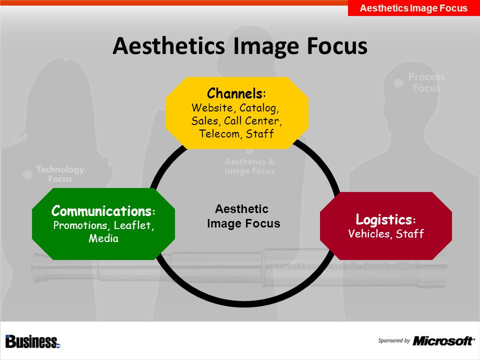 Aesthetics Image Focus Aesthetic Image Focus Channels: Website, Catalog, Sales, Call Center, Telecom, Staff Logistics : Vehicles, Staff Communications : Promotions, Leaflet, Media Aesthetics Image Focus