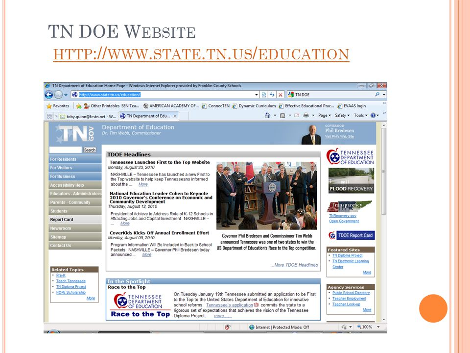 TN DOE W EBSITE HTTP :// WWW. STATE. TN. US / EDUCATION HTTP :// WWW. STATE. TN. US / EDUCATION