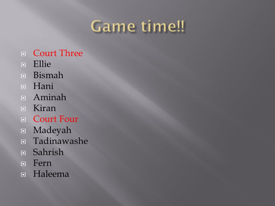  Court Three  Ellie  Bismah  Hani  Aminah  Kiran  Court Four  Madeyah  Tadinawashe  Sahrish  Fern  Haleema