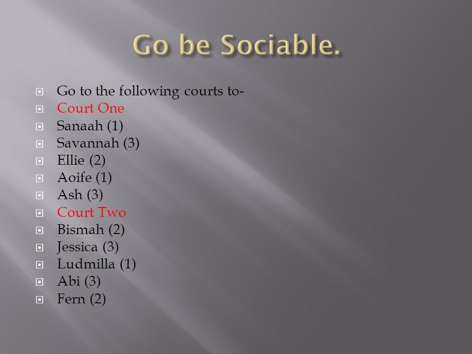  Go to the following courts to-  Court One  Sanaah (1)  Savannah (3)  Ellie (2)  Aoife (1)  Ash (3)  Court Two  Bismah (2)  Jessica (3)  Ludmilla (1)  Abi (3)  Fern (2)