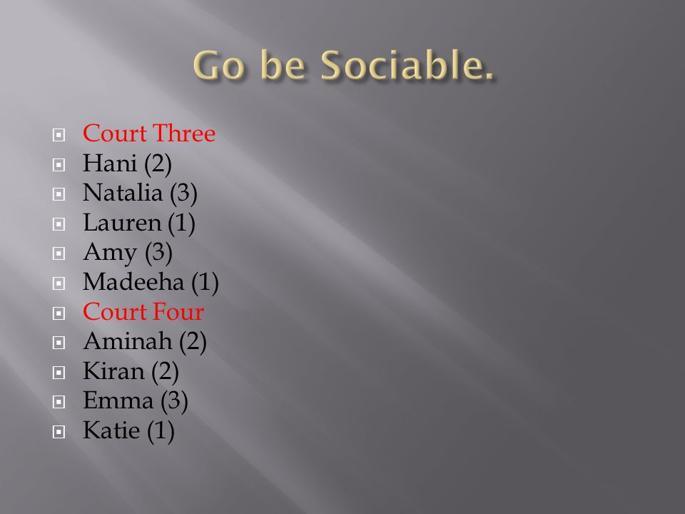  Court Three  Hani (2)  Natalia (3)  Lauren (1)  Amy (3)  Madeeha (1)  Court Four  Aminah (2)  Kiran (2)  Emma (3)  Katie (1)