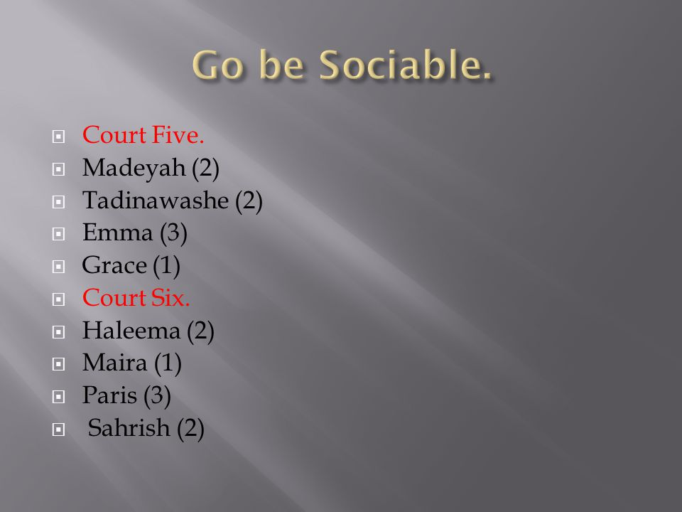  Court Five.  Madeyah (2)  Tadinawashe (2)  Emma (3)  Grace (1)  Court Six.