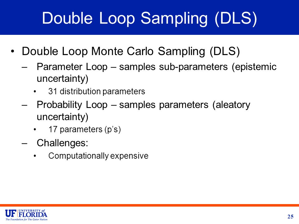 Double Loop Sampling (DLS) Double Loop Monte Carlo Sampling (DLS) –Parameter Loop – samples sub-parameters (epistemic uncertainty) 31 distribution parameters –Probability Loop – samples parameters (aleatory uncertainty) 17 parameters (p's) –Challenges: Computationally expensive 25