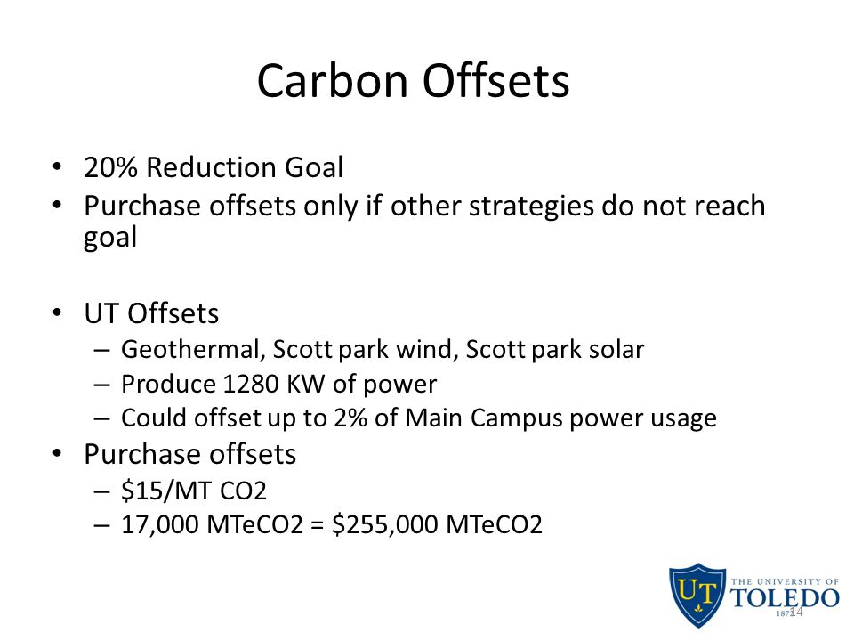 Carbon Offsets 20% Reduction Goal Purchase offsets only if other strategies do not reach goal UT Offsets – Geothermal, Scott park wind, Scott park solar – Produce 1280 KW of power – Could offset up to 2% of Main Campus power usage Purchase offsets – $15/MT CO2 – 17,000 MTeCO2 = $255,000 MTeCO2 14
