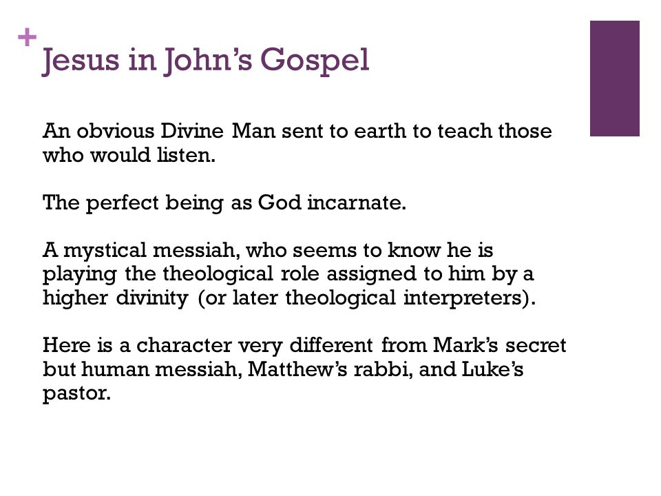 + Jesus in John's Gospel An obvious Divine Man sent to earth to teach those who would listen.